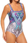 Gottex Folklore Square Neck Tank One Piece Swimsuit 13F0172