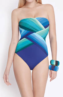 Gottex Contour Chrystalis Bandeau One Piece Swimsuit 14CH070