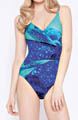Gottex Classic Wave Printed Surplice One Piece Swimsuit 14WP159