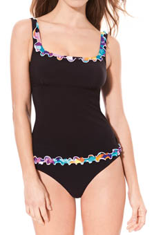 Profile Pixel Tri Color Tankini Swim Top