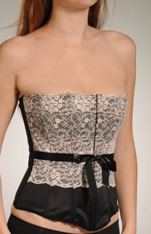 Grenier Satin And Floral Lace Corset 6148b