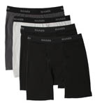 Stretch Black and Grey Long Boxer Briefs - 4 Pack