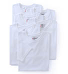 Premium Cotton White Crew Neck T-Shirts - 6 Pack