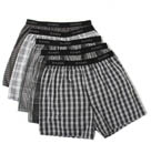 Cotton Woven Blue-Black Yarn Dyed Boxers - 5 Pack