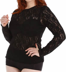 Hanky Panky Plus Size Long Sleeve Stretch Lace Top 128LX