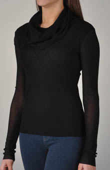 Mesh Cowl Neck Top