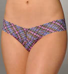 Pink Plaid Low Rise Thong