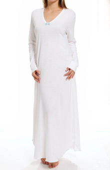 "Hanky Panky Supima Cotton Interlock 54"" Long Sleeve Gown 83G514"