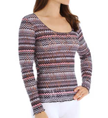Hanky Panky Pink Zoe Long Sleeve Scoop Neck Top 8H4124