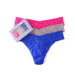 Sparkle Box Lace Original Rise Thongs - 3 Pack Image