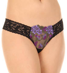 Embroidered Tulle Low Rise Thong