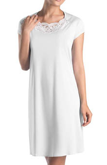 Dalia Lace Trim Short Sleeve Gown