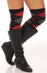Lurex Argyle Over The Knee Sock