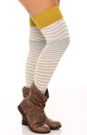honeydew Chevron Stripe Over The Knee Sock 3298