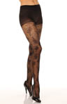 Lacy Floral Dot With Control Top Pantyhose