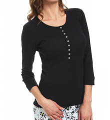 Hue Solid Long Sleeve Henley Sleep Tee PJ42143