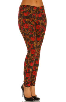 Hue Abstract Floral Jeans Leggings U13843