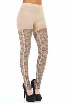 Hue Printed Lace Tights w/ Control Top U14052
