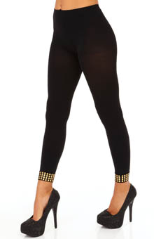 Hue Studded Ankle Footless Tights U14117