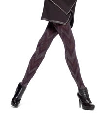 Hue Metallic Zig Zag Tights with Control Top U14813