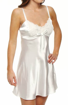 Jones New York Solid Satin Lace Trim Chemise