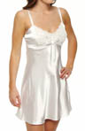 Solid Satin Lace Trim Chemise