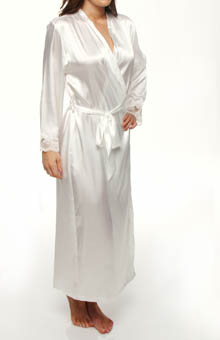 Jones New York Solid Satin Lace Trim Long Robe