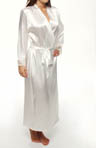 Solid Satin Lace Trim Long Robe