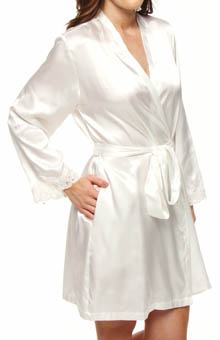 Jones New York Solid Satin Lace Trim Wrap Robe