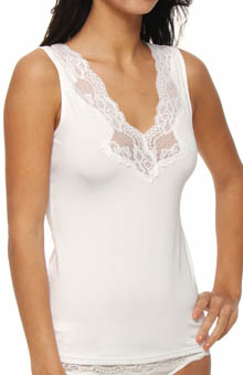 Jones New York Microfiber Lace Trim V-Neck Tank