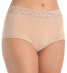Jones New York Cotton Spandex Wide Lace Trim Full Brief Panty 680330