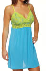 Amelia Solid Slinky Chemise with Lace Trim