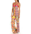 Rive Gauche Chic Printed Cami Pajama Set with Lace Image