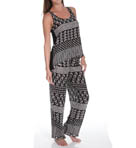 Josie by Natori Sleepwear Total Eclipse Printed Challis Tank Pajama Set W96120