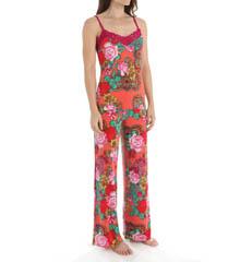 Josie by Natori Sleepwear Raya Printed Slinky Jersey Cami Pajama Set X96280