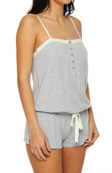 Eyelet Trim Knit Romper