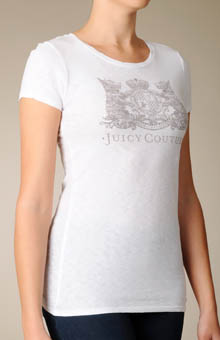 Juicy Couture JG004818 Vintage Crest Short Sleeve Tee Shirt With Crystals