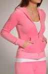 Velour Long Sleeve Zip Hoodie With Sequin Back