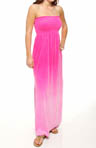 Ombre Velour Strapless Maxi Dress