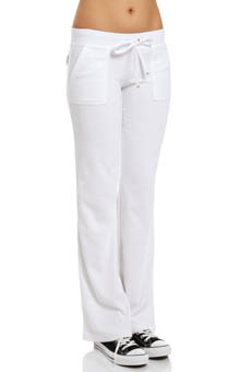Terry Flared Leg Pant With Snap Pocket