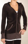 Velour Long Sleeve Long V-Neck Hoodie