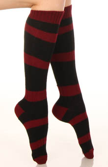 Cable Stripe Knee High Sock