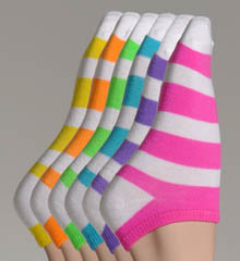 Neon Stripe 6-Pack Ankle Socks