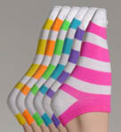K. Bell Neon Stripe 6-Pack Ankle Socks 57850BL