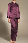 Oriental Style Brush Back Satin PJ Set