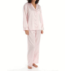 KayAnna Dots 'n Stripes Satin Brushed Back PJ Set B15186