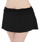 Core Solid Plus Size Shirred Skirted Swim Bottom Image