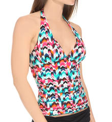 La Blanca Essence Chevron Halter Goddess Tankini Swim Top LB5R684