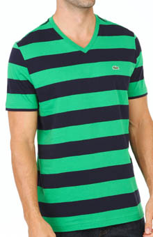 Lacoste Short Sleeve Bar Stripe V-Neck T-Shirt