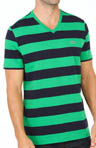 Short Sleeve Bar Stripe V-Neck T-Shirt